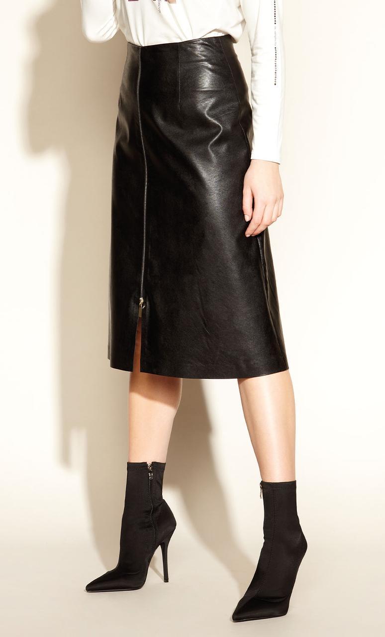 Юбка из эко-кожи Tessema Zaps черного цвета, коллекция осень-зима 2020-2021