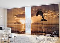 """Фото Шторы """"Дельфин на оранжевом закате"""""""