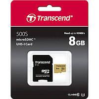 Карта памяти с адаптером Transcend microSDHC 500S 8GB UHS-I UI TS8GUSD500S 6398422, КОД: 1493707