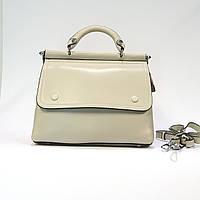 Женская бежевая сумочка из натуральной кожи средняя повседневная, фото 1