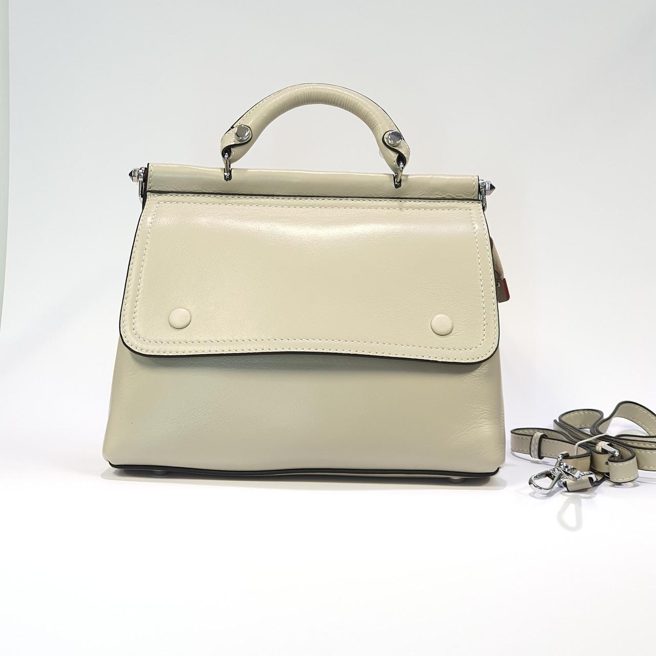 Женская бежевая сумочка из натуральной кожи средняя повседневная