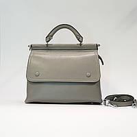 Женская серая сумочка из натуральной кожи среднего размера повседневная, фото 1