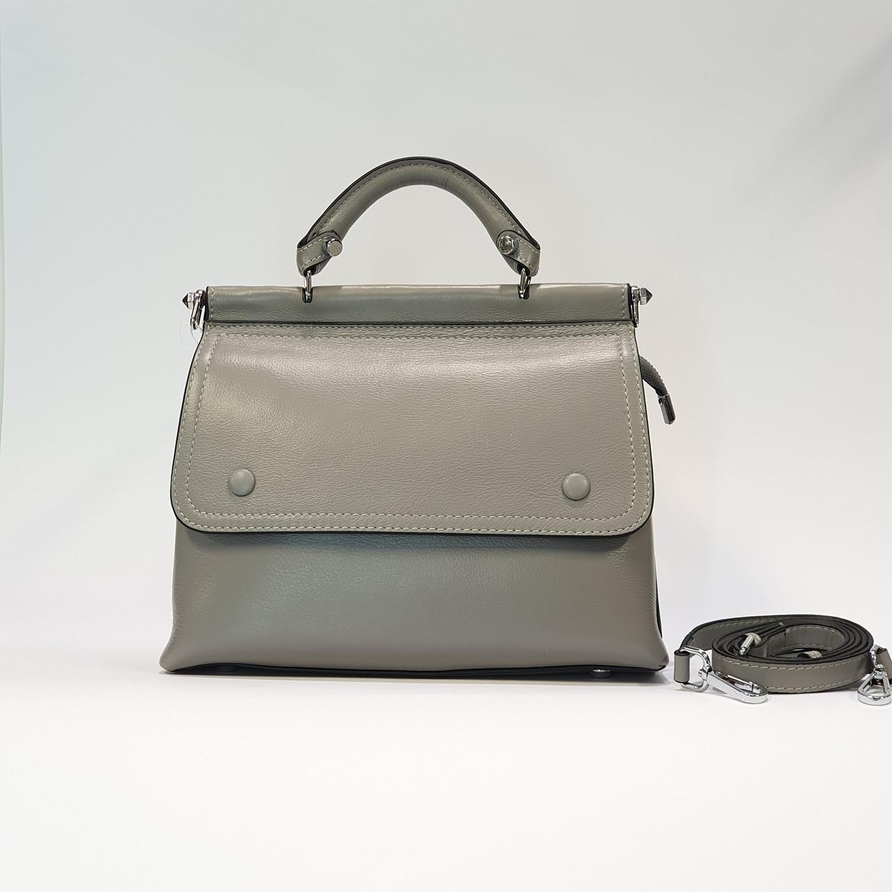 Женская серая сумочка из натуральной кожи среднего размера повседневная