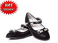 Чёрные туфли школьные на каблучке для девочки W.Niko (33-21см)