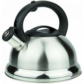 Чайник на 2,5 литра из нержавеющей стали с черной ручкой Wellberg 3786