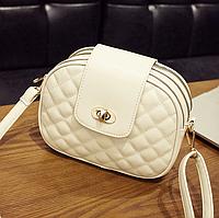 Женская сумка клатч бежевая стеганая код 3-418