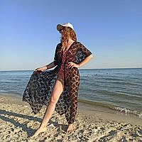 56-58 размер! Черный кружевной халат-туника для пышных женщин на море