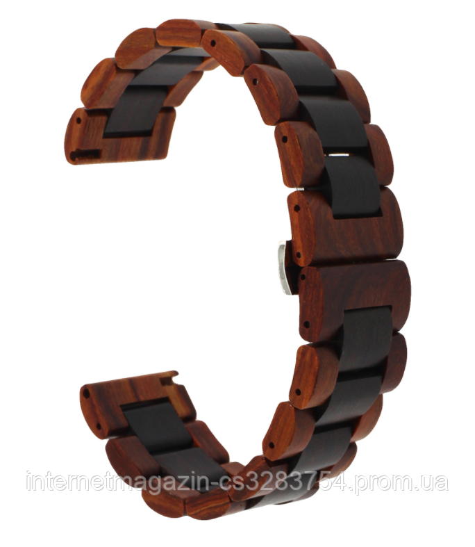 Браслет из дерева 22 мм BeWatch Wood для Samsung Galaxy Watch 46mm | Samsung Gear S3 Коричнево-черный (1020902)
