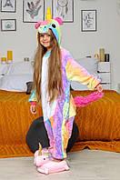 Детская пижама Кигуруми Единорог радужный 130 (на рост 128-138см)