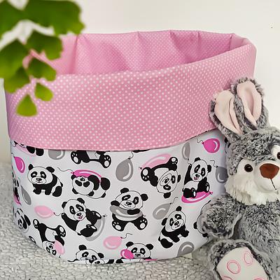 Мешок (корзина) для хранения, Ø45 * 40 см, (хлопок), с отворотом (панды с шариками / горох на розовом)