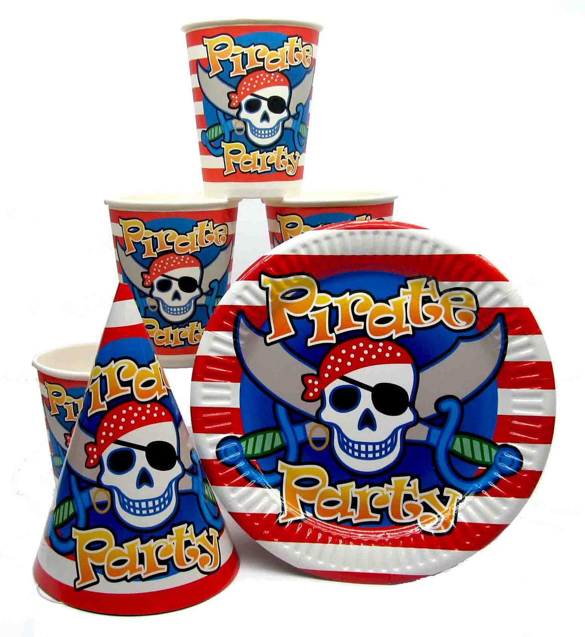 """Набор """"Pirates Party"""". Тарелки (18см) -10шт. Стаканчики (250мл) -10шт. Колпачки (16см) -10шт."""
