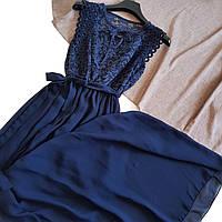 Синее длинное платье в пол с шифоновым низом и кружевом сверху