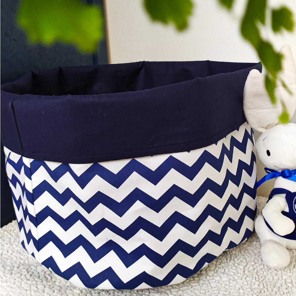 Мешок (корзина) для хранения, Ø45 * 40 см, (хлопок), с отворотом (зигзаги синие / темно-синий)