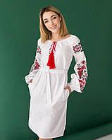 Сказочное платье с вышивкой Жар-птица белое