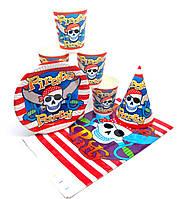 """Набор """"Pirates Party"""". Скатерть - 1шт. Тарелки (18см) -10шт. Стаканчики (250мл) -10шт. Колпачки (16см) -10шт."""
