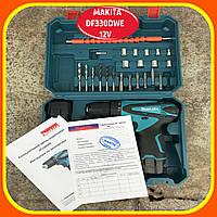 Makita Шуруповерт Аккумуляторный DF330DWE (12V 2A/h Li-Ion) с гибкий вал! Шуруповерт Макита 12 в набор вал