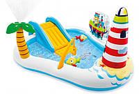 Надувний Дитячий Ігровий Центр з Гіркою Intex Весела Рибалка 218 х 188 х 99 см, фото 1