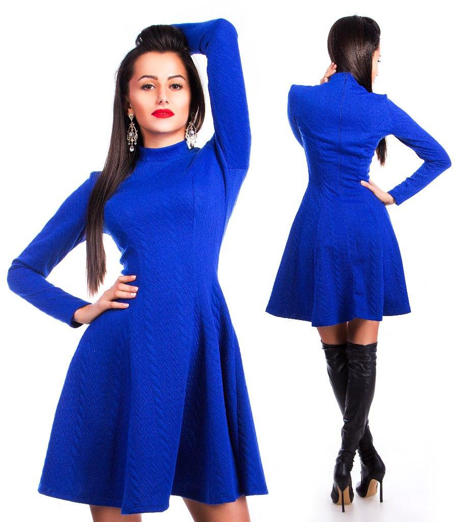 Платье косичка длинный рукав трикотаж