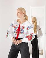 Молодежная женская вышиванка с мальвами, белого цвета, фото 1