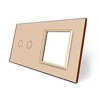 Сенсорная панель выключателя Livolo 2 канала и розетки (2-0) золото стекло (VL-C7-C2/SR-13), фото 1