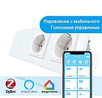 Сенсорный Wi-Fi выключатель Livolo ZigBee с двумя розетками белый стекло (VL-C701Z/C7C2EU-11), фото 1