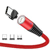 Магнитный кабель синхронизации Topk 3в1 1m 5A 360° Красный TK08-3-VER2-RD, КОД: 1782533