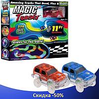 Гоночний трек Magic Tracks 360 деталей - Дитячий світиться гнучкий автотрек з двома машинками і містком