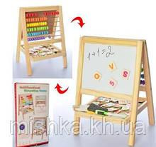 Мольберт Детский Деревянный двухсторонний 2в1 доска для рисования +Буквы Англ Счеты Мольберт из дерева