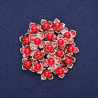 Брошь Цветы с Кораллом, красная эмаль, золотистый металл 60х62мм