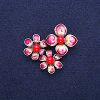 Брошь кулон Цветы с Кораллом и бордовой эмалью, золотистый металл 36х46мм
