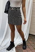 Мини юбка в горох LUREX - черный цвет, S (есть размеры), фото 1