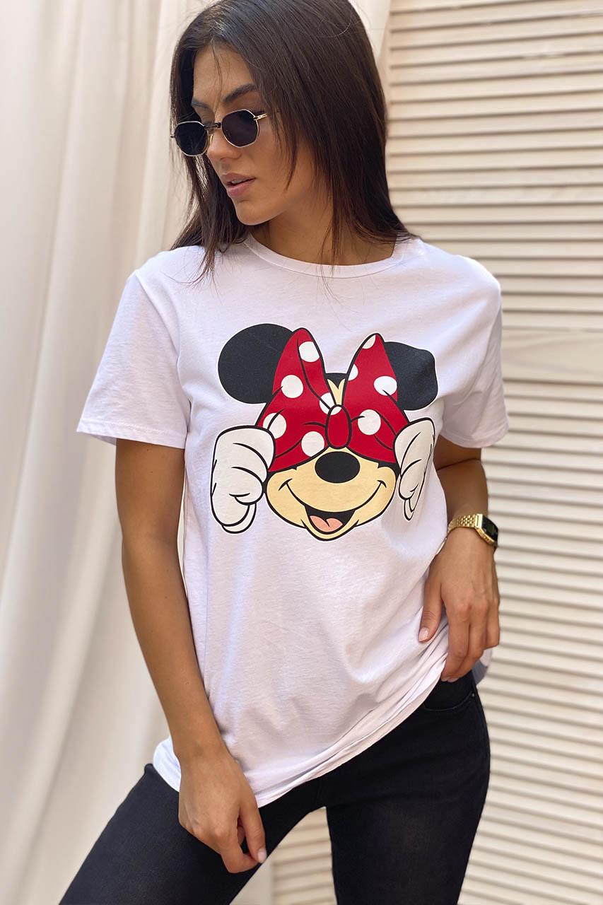 Молодежная футболка с Минни и бантиком  LUREX - белый цвет, M (есть размеры)