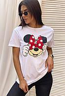 Молодежная футболка с Минни и бантиком  LUREX - белый цвет, M (есть размеры), фото 1