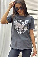 Хлопковая футболка с принтом в стиле Рок Crep - серый цвет, S (есть размеры), фото 1