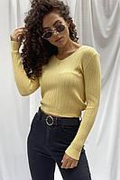 Модная кроп-кофта с вязкой лапша ebelieve - желтый цвет, L/XL (есть размеры), фото 1
