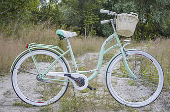 Велосипед жіночий міський VANESSA 28 Mint з кошиком Польща