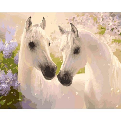 """Картина по номерам """"Пара лошадей"""" ★★★ КНО2433"""