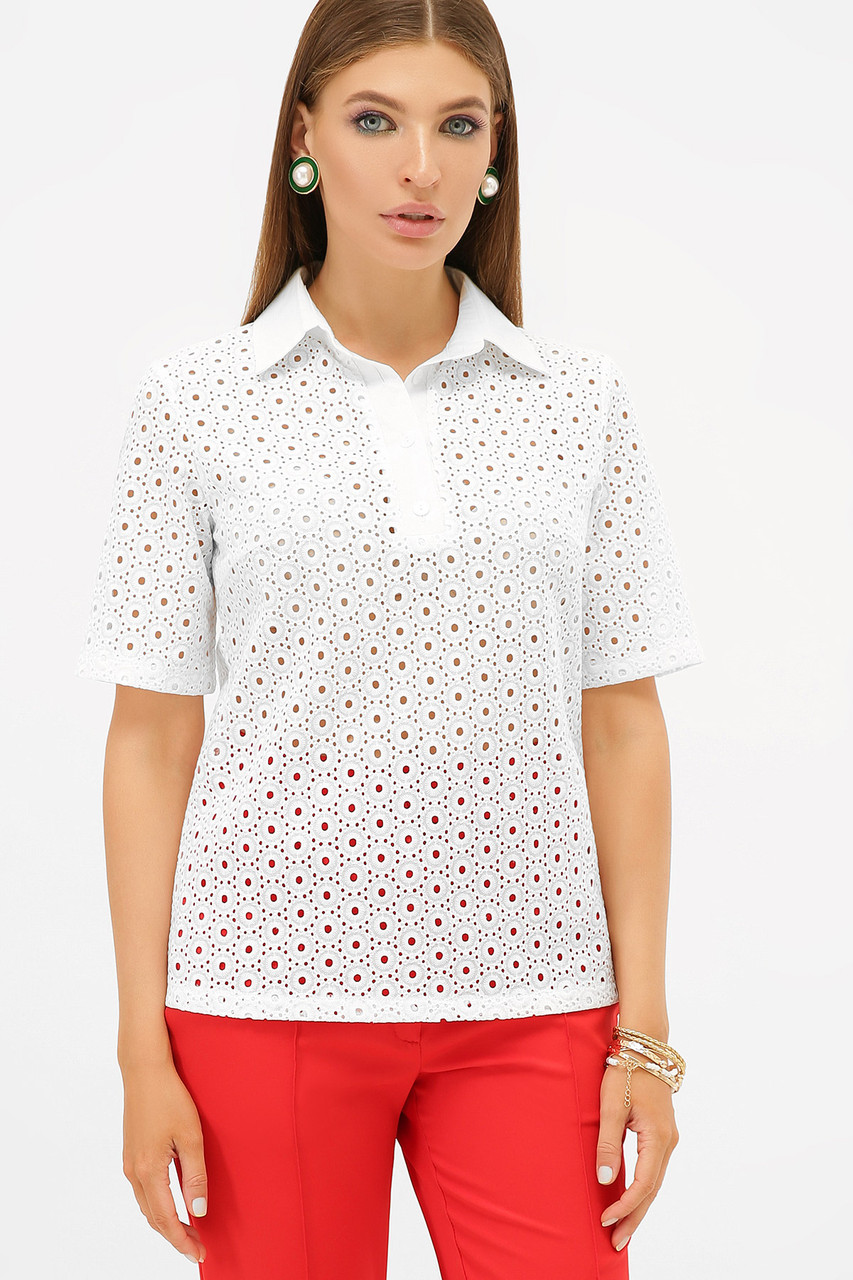 Белая летняя блуза  с коротким рукавом Малена