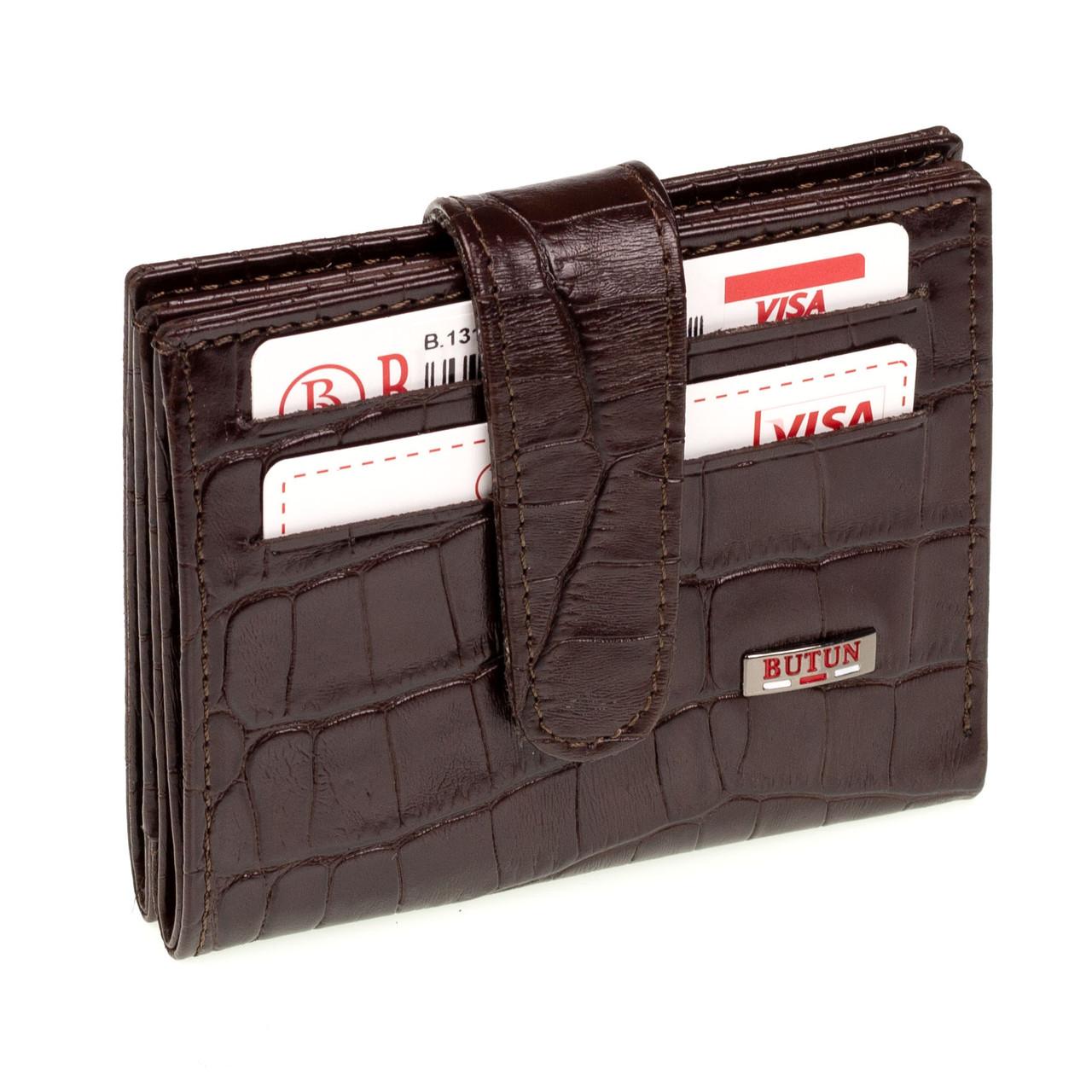 Кожаный картхолдер с отделением для купюр BUTUN 131-002-004 коричневый