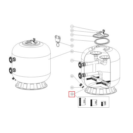 Emaux Дюзы для фильтра Emaux L1800-2000 (129 мм)
