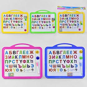 Досточка для рисования магнитная большая с русским алфавитом, маркером и губкой, 4 цвета SKL11-182461