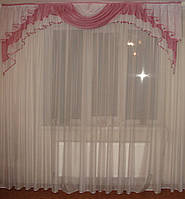 Ламбрикен розовый Каскад 2,5м, фото 1