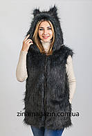 Меховая жилетка с капюшоном и ушками - Волчица