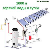 Гелиосистема на основе плоского всесезонного солнечного коллектора (1000 л воды в сутки)