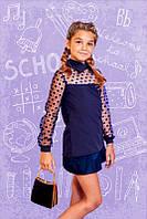 Блуза школьная с кружевными рукавами