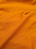 """Льняная костюмная ткань с """"эффектом помятости"""" охряного цвета, фото 1"""