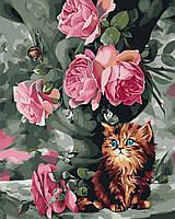 BK-GX3574 Котенок и розы Набор-картина по номерам, Без коробки