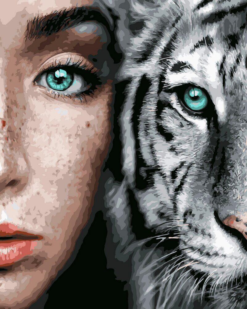 BK-GX31989 Набор-картина по номерами Девушка и тигр, Без коробки