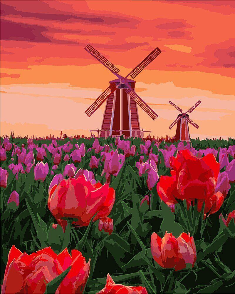 KH2275 Набор-раскраска по номерам Тюльпаны на закате, В картонной коробке
