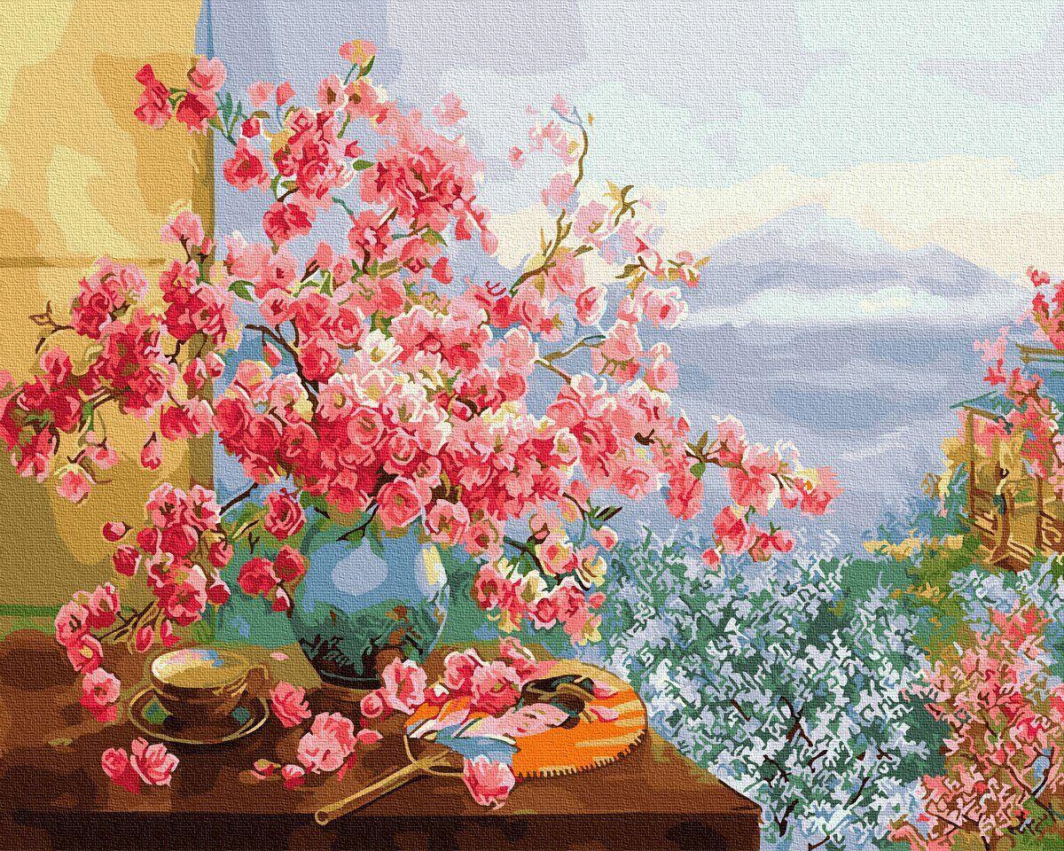 BK-GX27370 Картина для рисования по номерам Весна в Японии, Без коробки